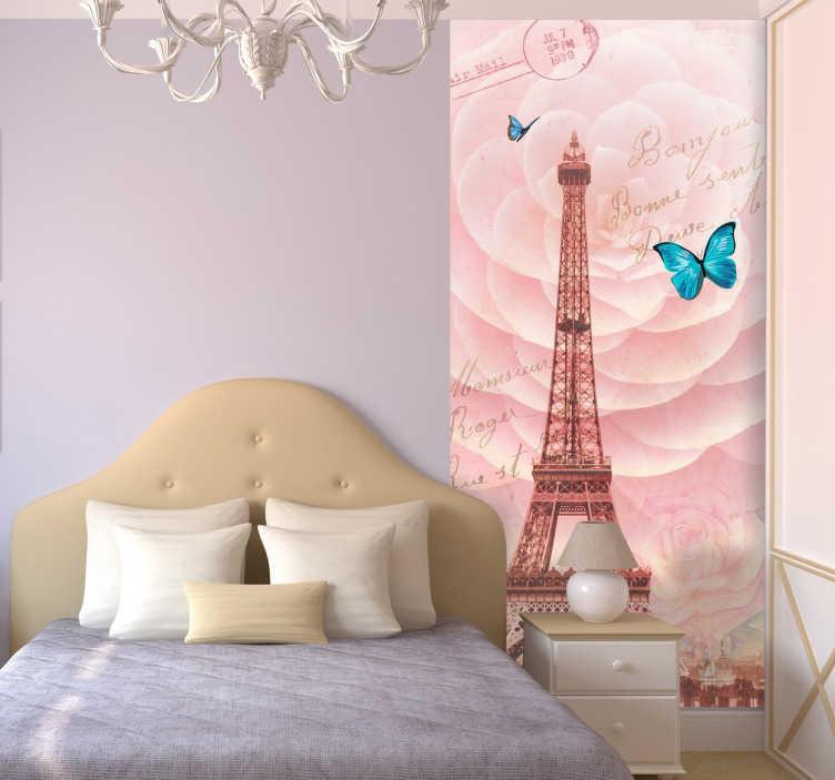 TenStickers. Fototapeta wieża Eiffla. Winylowa fototapeta przedstawiająca widok na wieżę Eiffla umieszczony na różanym motywie. Całości różowej dekoracji wyróżniającego się akcentu dodaje niebieski motyl.