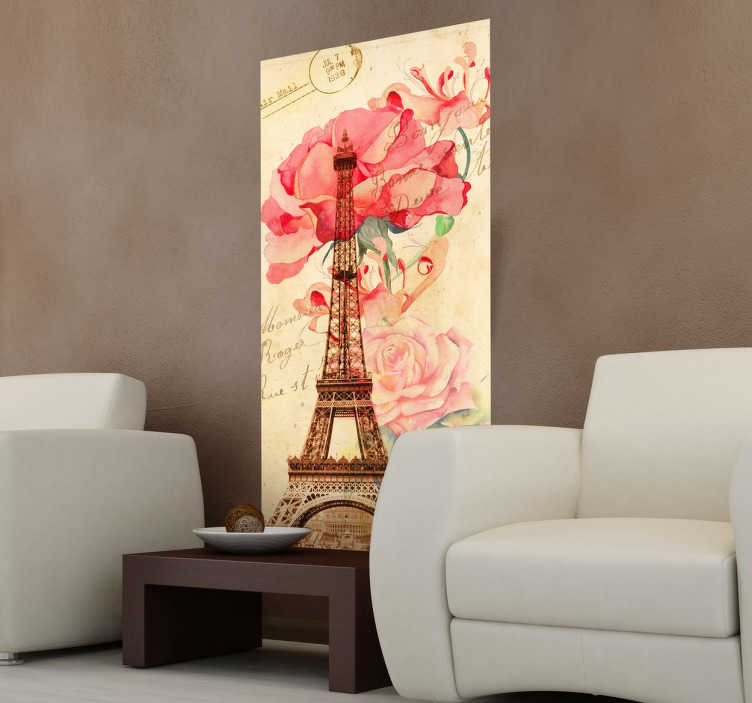 TenStickers. Wandtattoo Eiffelturm. Die französische Metropole fasziniert Sie? Holen Sie sich dieses schöne Wandtattoo des berühmten Eiffelturms mit Blumen