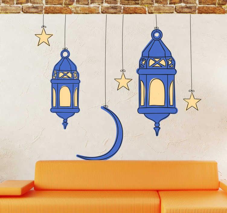 TenStickers. Arabische Ramadan sticker. Arabische sticker met 2 hangende lampen met sterren en de halve maan! Leuke sticker om uw huis mee te decoreren tijdens de Ramadan!