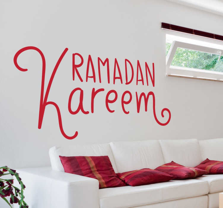 TenStickers. Ramadan Kareem Sticker. Arabic text sticker to decorate your home and wish your guests a good Ramadan.