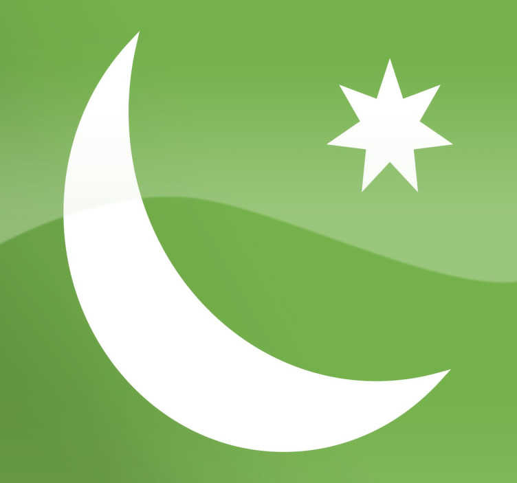 TenStickers. Arabic Moon and Star Sticker. Crescent and seven-pointed star sticker, representative of the religious Muslim icon.
