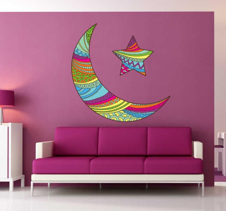 TenStickers. Naklejka gwiazda i księżyc. Fenomenalny wzór naklejki na ścianę przedstawiający księżyc i gwiazdę, dekoracje zostały wypełnione pięknym i wielokolorowym motywem.