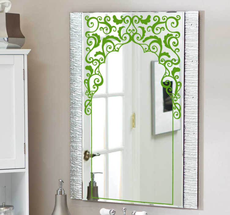 TenStickers. Arabic Rectangular Mirror Decal. Decals - Arabic inspired floral design ideal for mirrors. Available in various sizes and in 50 colours. Stickers made from high quality vinyl.