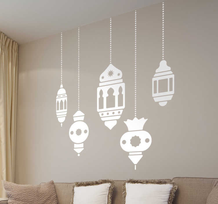 TenStickers. Decorative Arabic Lamps Sticker. Hanging light fixtures wall stickers to give an Arabic aesthetic to your home. Collection of four stickers of hanging lights inspired by Moroccan decor. Arabic vinyl stickers that transport you to the ancient cities of Fez, Tehran or Istanbul without leaving your home.