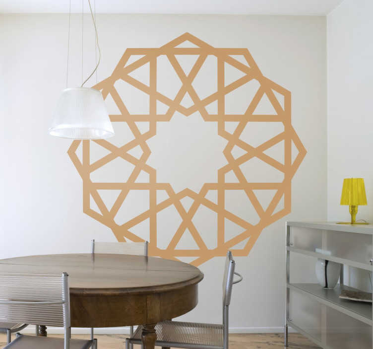 TenStickers. Geometric Rosette Sticker. Spectacular wall sticker of a rosette of oriental inspiration, with a fully symmetrical design.