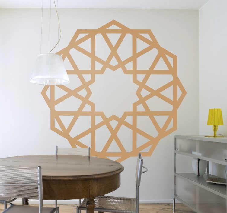 TenStickers. Muursticker Rozet Geloof Arabisch. Rozet muursticker van oosterse inspiratie muursticker. Deze geometrische Arabische muursticker wordt al eeuwen gebruikt als Moskeeën muurdecoratie.