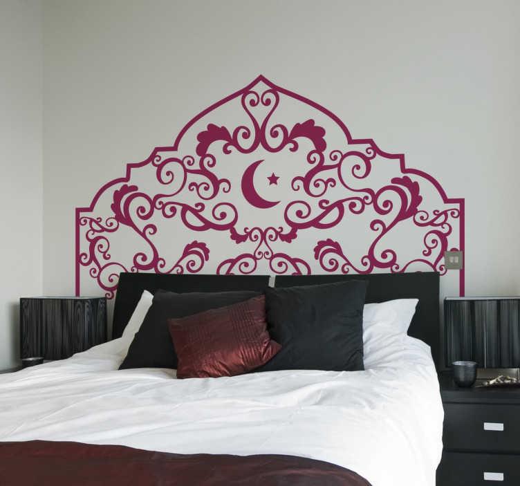 sticker t te de lit orientale tenstickers. Black Bedroom Furniture Sets. Home Design Ideas