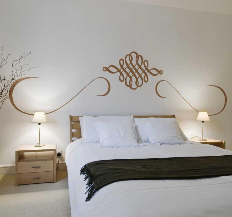 TenStickers. Bed hoofdeinde sticker Oosters. Muursticker voor aan het hoofdeinde van uw bed! Geïnspireerd door het Oosterse arabesk cultuur, bedoeld als decoratie te plaatsen aan het hoofdeinde.