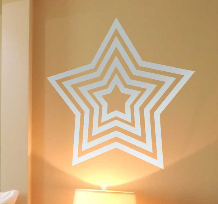 TenStickers. Concentric Star Sticker. Original decal of a interesting and creative concentric star. A monochrome design from our collection of star wall stickers.