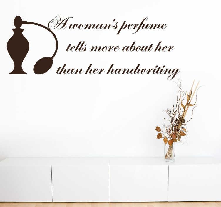 TenStickers. Autocolante decorativo a mulher e o perfume. Autocolante decorativo com a descrição de uma mulher. Ideal para a decoração da sala ou a decoração do quarto.