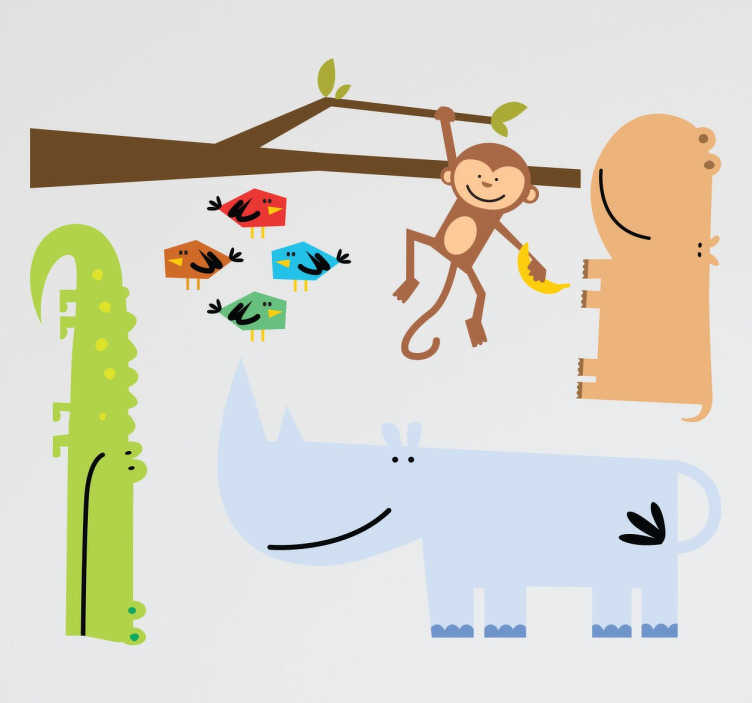TenStickers. Savannah Animals Decal Set. Collection of stickers ideal for children with an animal theme.  monkey, crocodile, rhino, hippo and abstract birds.