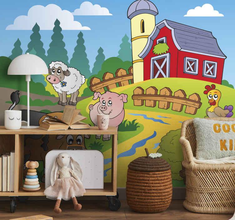 TenStickers. Naklejka dekoracyjna gospodarstwo. Fototapeta dziecięca. Naklejka przedstawia urocze zwierzątka na farmie. Obrazek jest dostępny w wielu rozmiarach.