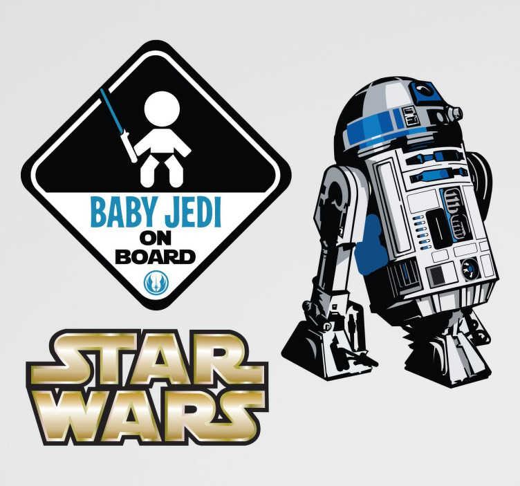 TenVinilo. Stickers baby jedi. Kit de sitckers decorativos para los más entusiastas de Star Wars que no se han perdido ni una película de la saga y desean compartir su afición con los que le rodean.