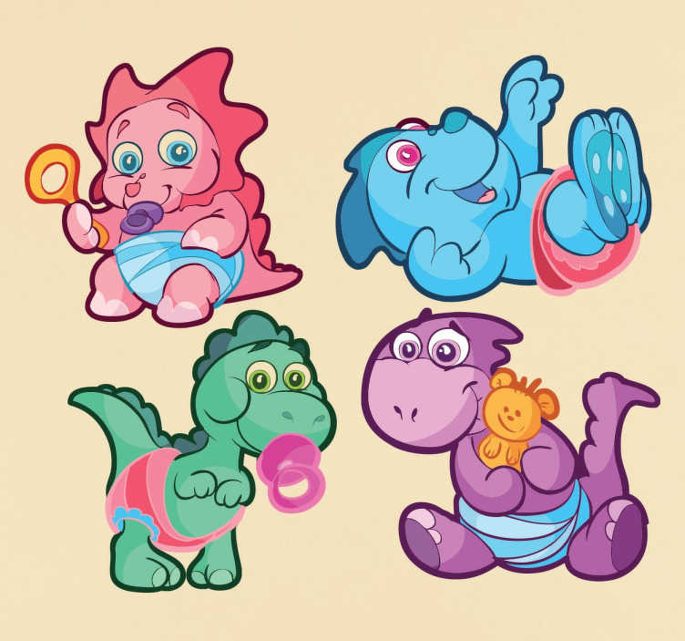 TenStickers. Kids Dinosaur Sticker Pack. Collection of stickers ideal for children with an animal theme. A set of four cute adorable baby dinosaurs in nappies with toys.