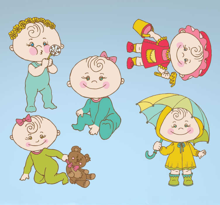 TenStickers. Stickers bambini neonati. Dolcissimo set di stickers illustranti cinque teneri neonati e bambini impegnati nelle loro attività di gioco. Ideale per camerette e accessori.