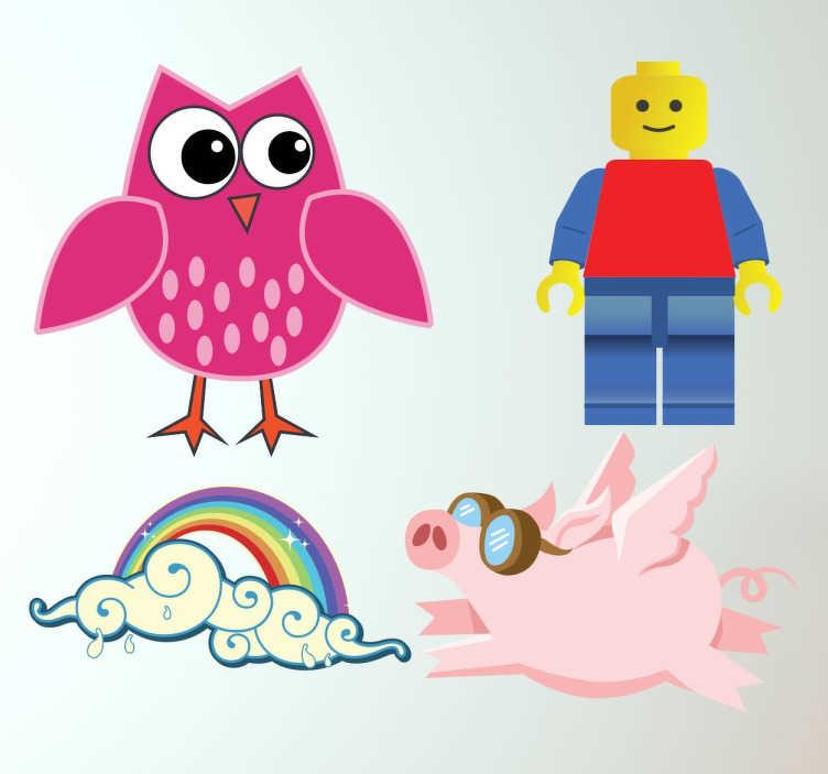 TenStickers. Stickers bambini. Kit di adesivi per bambini con le illustrazioni di un dolce gufetto rosa, un maialino volante, un arcobaleno e un colorato omino lego.