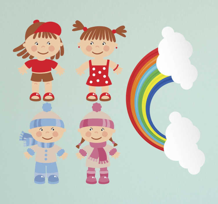 TenStickers. Kids Winter & Summer Toddlers Sticker Pack. Collection of stickers ideal for children. A set of five cute adorable illustrations of a boy and girl