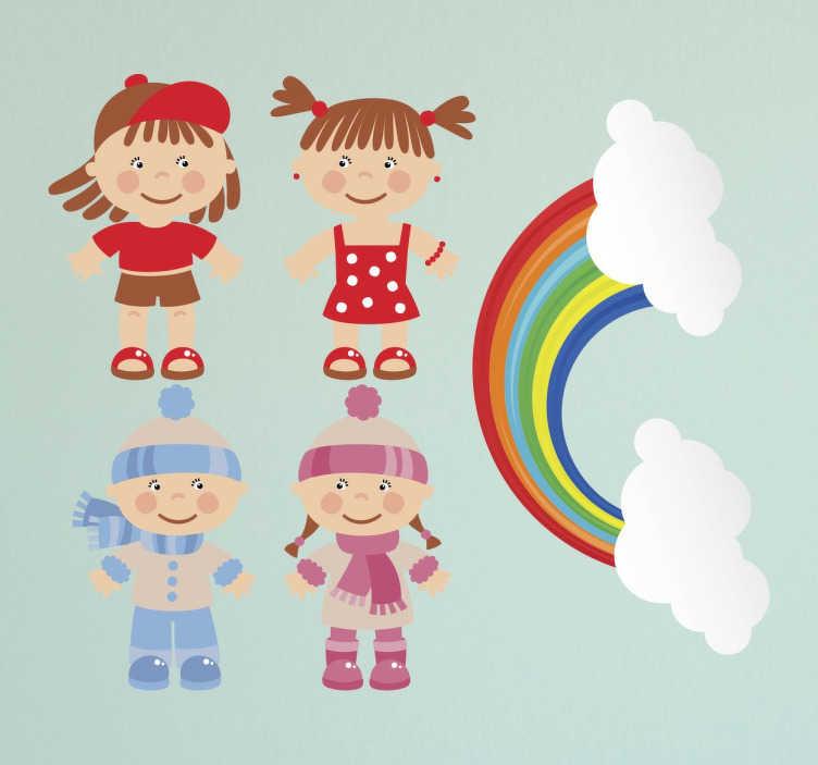 TenStickers. Stickers été hiver. Une collection d'autocollants amusante pour l'été et l'hiver illustrée d'un petit garçon et d'une petite fille.