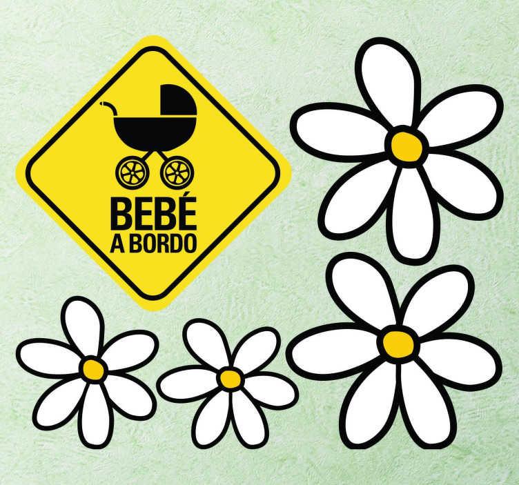 TenVinilo. Stickers margaritas. Colección de pegatinas para colocar en tu vehículo y personalizarlo a tu gusto. Cuatro margaritas de diferentes tamaños acompañados de la pegatina de Bebé a bordo con fondo amarillo que junto al texto también puedes encontrar un carrito perfecto en el interior.