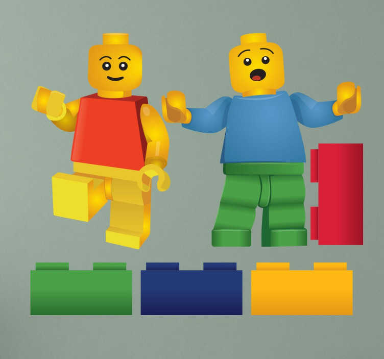 TenStickers. Naklejki klocki Lego. Znakomita dekoracja do pokoju dzieci, w szczególności chłopców, którzy uwielbiają zabawy klockami. Naklejka przedstawia dwa ludziki Lego oraz pojedyncze, kolorowe klocki.