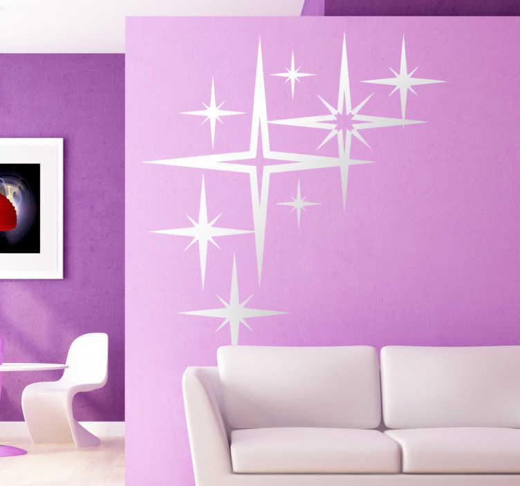 TenVinilo. Vinilo estrellas. Vinilo decorativo estrellas formado por 8 estrellas de distintos tamaños. Una de ellas, la más grande ocupa la posición central y tiene cuatro puntas.