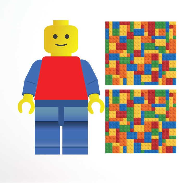 TenVinilo. Stickers piezas lego. Kit de tres stickers decorativos para los entusiastas de lego. Personaliza los accesorios que desees con las dos piezas cuadradas que crean una textura de piezas lego mientras que acabas de dotar de carácter tus paredes con la figura de Lego.