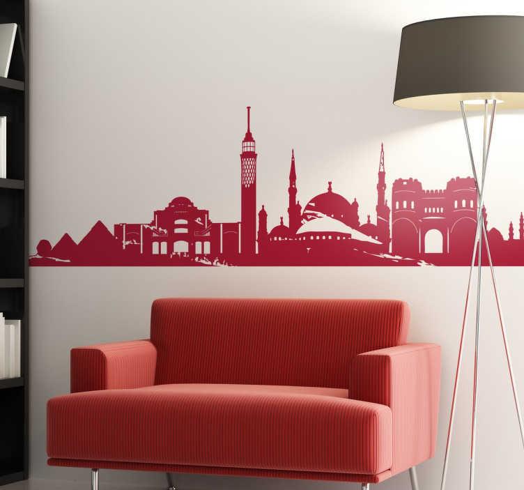 TenStickers. Sticker skyline Le Caire Égypte. Un magnifique sticker mural oriental orné des monuments les plus emblématiques de la ville du Caire. +50 Couleurs Disponibles.
