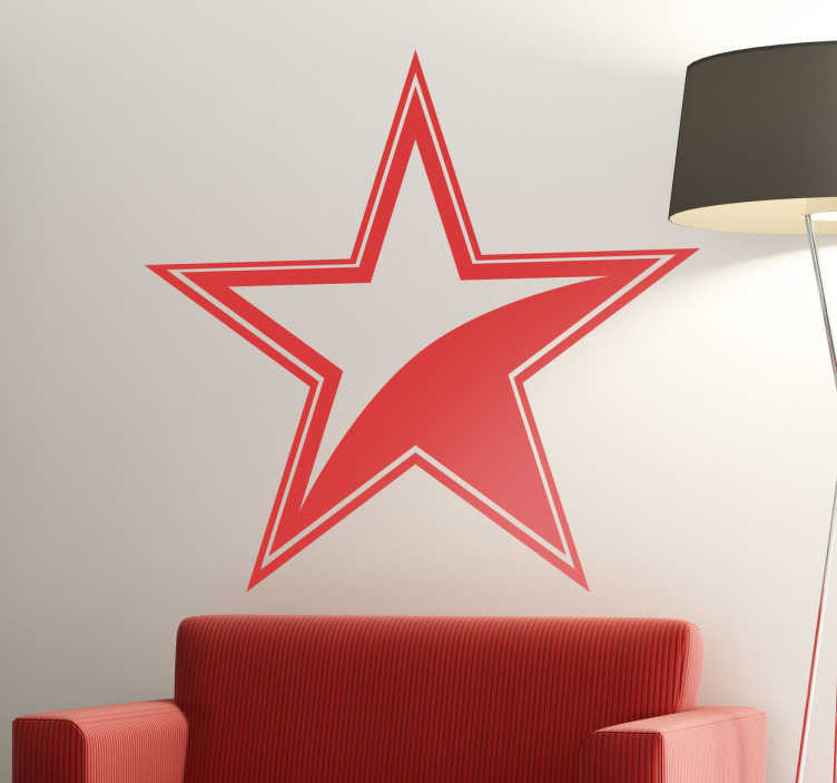 TenStickers. Unique Star Decal with Border. Decorative decal of a 2 coloured star with borders. A fantastic design that is part of our collection of star wall stickers.