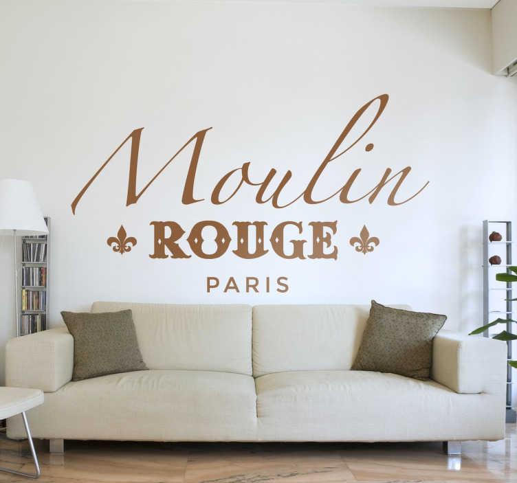 TenStickers. Moulin rouge paris klistermærke hjemmemur klistermærke. Personliggøre din dekoration med en vidunderlig moulin rouge klistermærke. Et smukt og elegant parisisk design, der gør dit interiør et unikt rum.