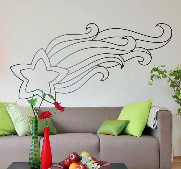 TenStickers. Sticker decorativo stella cadente. Adesivo murale che raffigura un'elegante cometa dalla lunga coda. Una decorazione ideale per la camera da letto.