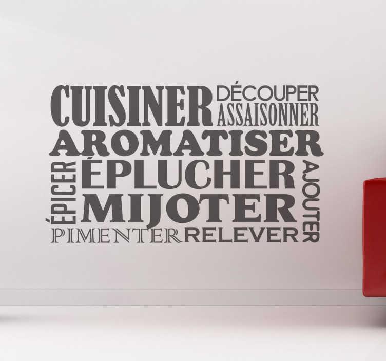 TenStickers. Sticker pêle-mêle cuisine. Apportez une touche de gaieté à votre espace cuisine avec ce sticker pêle-mêle inspiré de toutes les étapes d'une recette de cuisine réussie.