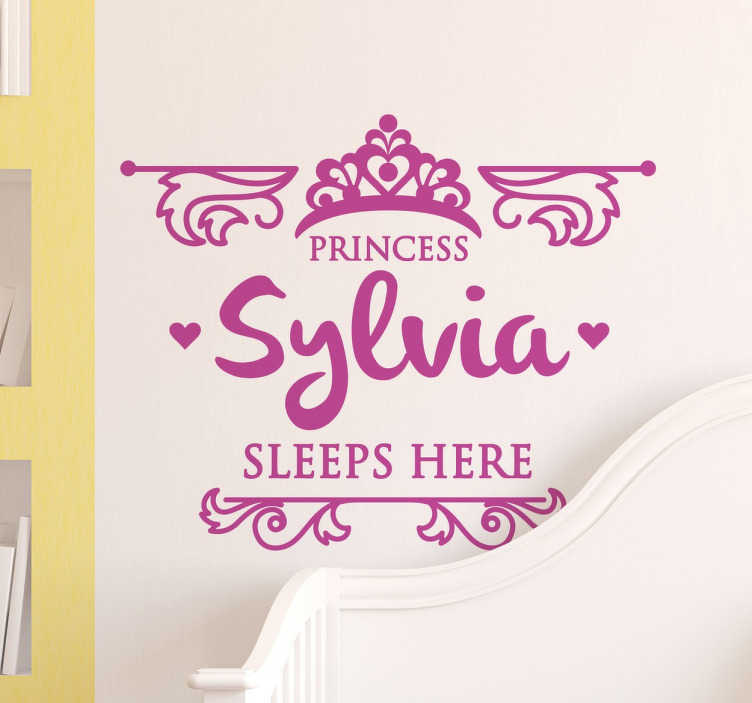 TenStickers. Kids Princess Sleeps Here Wall Sticker. Kids Wall Stickers - Personalised name design great for royal princesses around the world. Princess sleeps here.