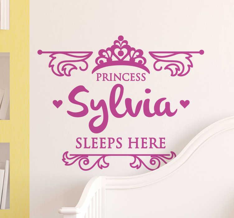 TenStickers. Wall sticker princess. Wall sticker decorativo personalizzabile con il nome di vostra figlia. Ideale per decorare la parete della sua cameretta .