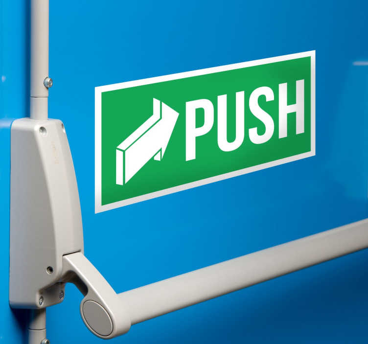 "TenStickers. Push vinyl sign. Push Sign Decal - At Tenstickers, we sell vinyl ""Push"" and ""Pull"" stickers for doors. This Push sign has a green background with white text. Stickers from £1.99."