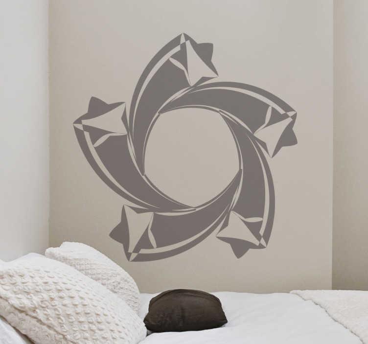 TenStickers. Sticker sterren spiraal. Een originele muursticker van 5 vallende sterren dat samen één grote ster vormen. Kies zelf de gewenste kleur en grootte voor de wanddecoratie.