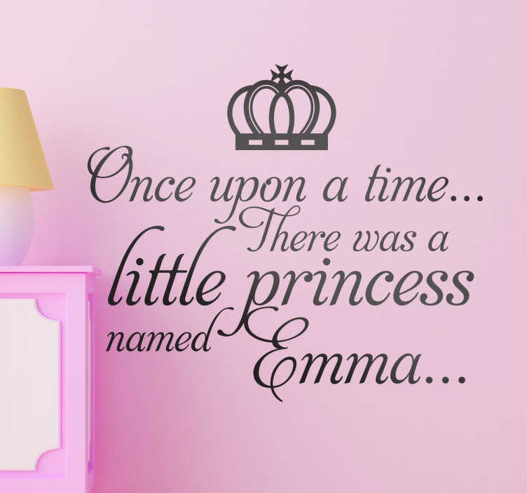 """TenStickers. Kids Personalised Fairy Tale Wall Sticker. Kids Wall Stickers - Personalised name design great for little princesses around the world. """"Once upon a time there was a little princess named...""""."""