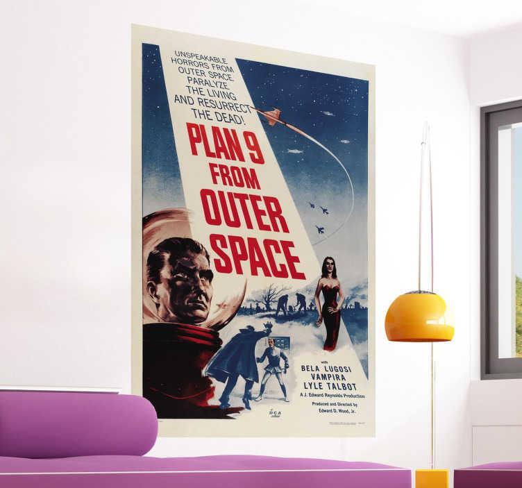 TenVinilo. Vinilo cartel Plan 9 from outer space. Póster adhesivo de este clásico film de serie B dirigido por Ed Wood, la peor película de la historia para muchos.