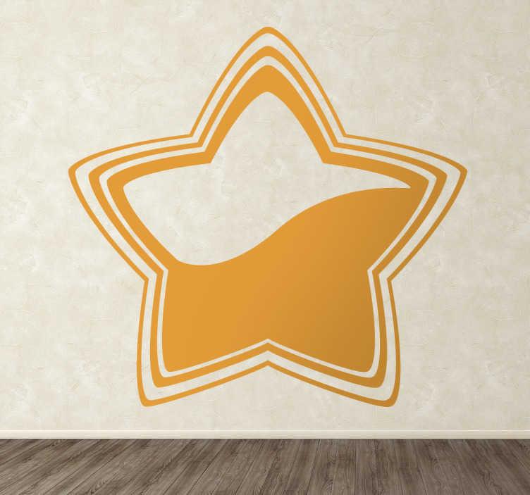 TenStickers. Adesivo estrela curvada. Autocolante decorativo de uma estrela curva colorida. Um design exclusivo de nossa coleção de adesivos de parede de estrelas para decorar suas paredes em casa.