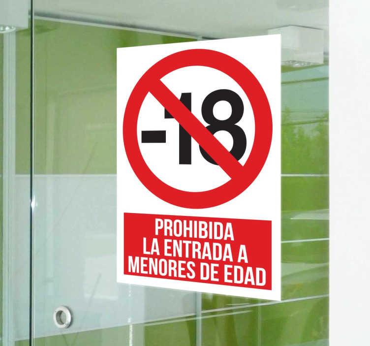 TenVinilo. Vinilo cartel prohibida entrada menores. Vinilo de señalización para espacios privados con los que restringir la entrada a menores de edad.