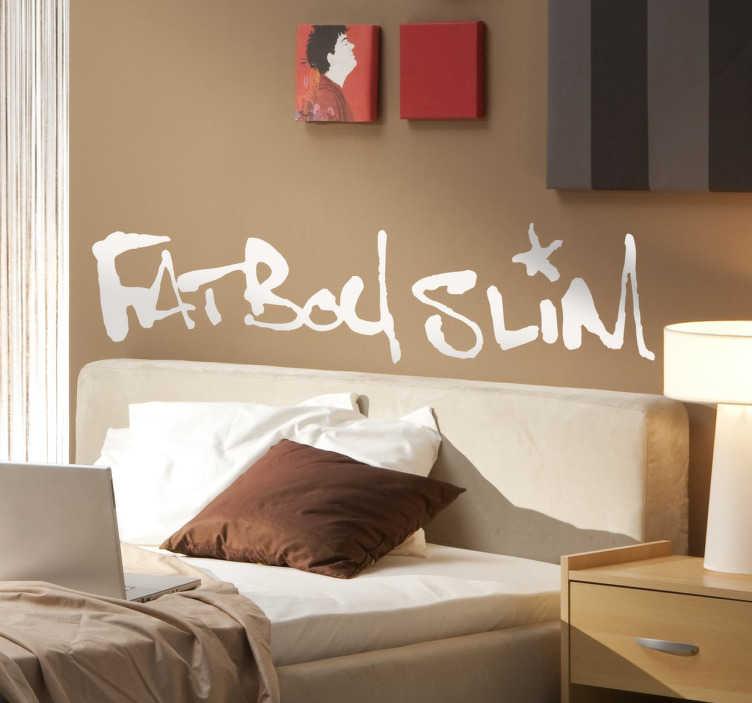 TenVinilo. Vinilo logotipo Fat Boy Slim. Vinilo decorativo para decorar tu habitación con el logotipo de tu grupo favorito de música electrónica.