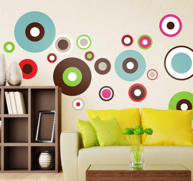 TenStickers. Gekleurde cirkels sticker. Sticker met verschillende gekleurde cirkels in allemaal verschillende formaten. Verschillende kleuren bij elkaar door elkaar en om elkaar heen.