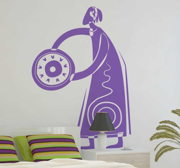 TenStickers. Sticker ethnique. Stickers mural ethnique, dessin représentant une femme avec un sceau.Idée déco pour la chambre à coucher ou le salon. Ajoutez votre touche personnelle en sélectionnant une couleur.