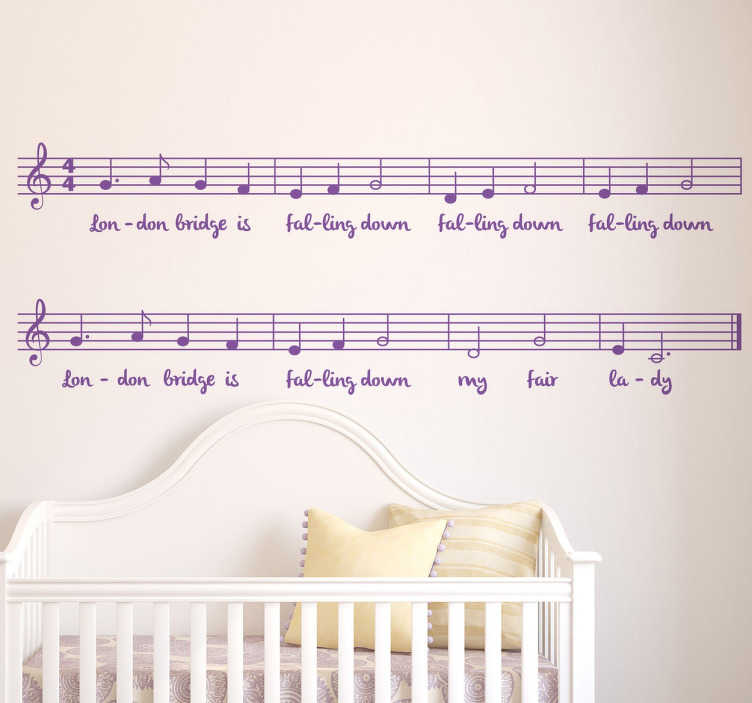 "TenStickers. London Bridge Falling Down Wall Sticker. Kids Wall Stickers - ""London Bridge is falling down"", the popular nursery rhyme. Ideal for decorating areas for children. Available in various sizes."