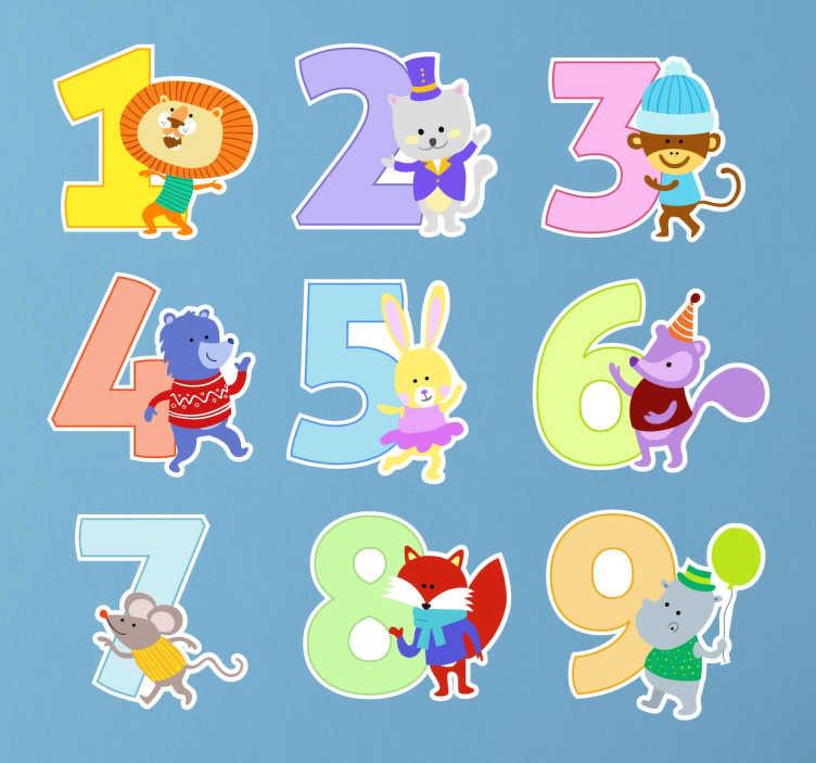 TenStickers. 어린이 스티커 컬렉션. 재미있는 동물을 동반 한 숫자 1에서 9까지의 어린이 동물 스티커. 자녀의 학습을위한 숫자 스티커를 재미있게 보내십시오.