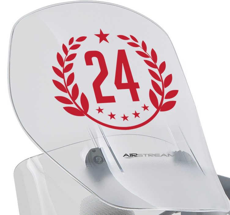 TenStickers. Sticker chiffres laurier personnalisé. Sticker personnalisé avec votre numéro porte-bonheur au sein d'une couronne de laurier. Idéal pour votre moto ou tout autre véhicule.