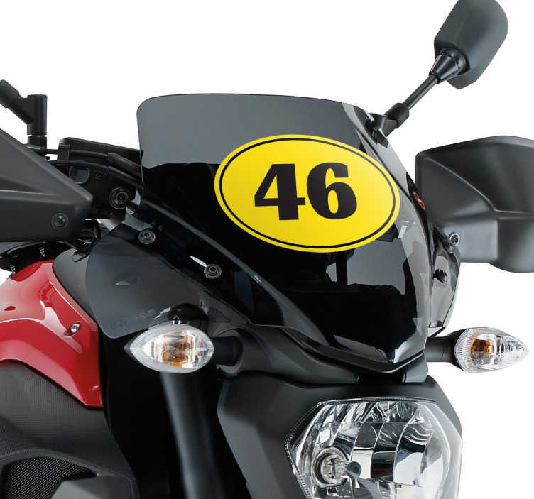 TENSTICKERS. パーソナライズされたオートバイ番号のステッカー. オートバイのステッカー - 黄色の楕円形のデカールと番号壁のステッカーのコレクションからカスタマイズ可能な番号であなたのオートバイをパーソナライズ。