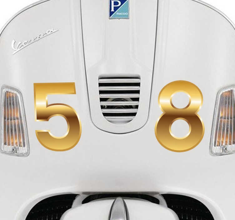 TenStickers. Numeri adesivi moto dorati. Trasforma il look della tua moto con sfavillanti numeri adesivi color oro, per regalare al tuo mezzo un aspetto unico ed inconfondibile!