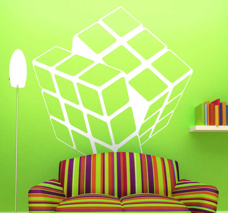 TenStickers. Monochrome Rubik Cube Sticker. Monochrome sticker of a classic toy to give a modern look and colour to your home. Brilliant decal to decorate your child´s room.