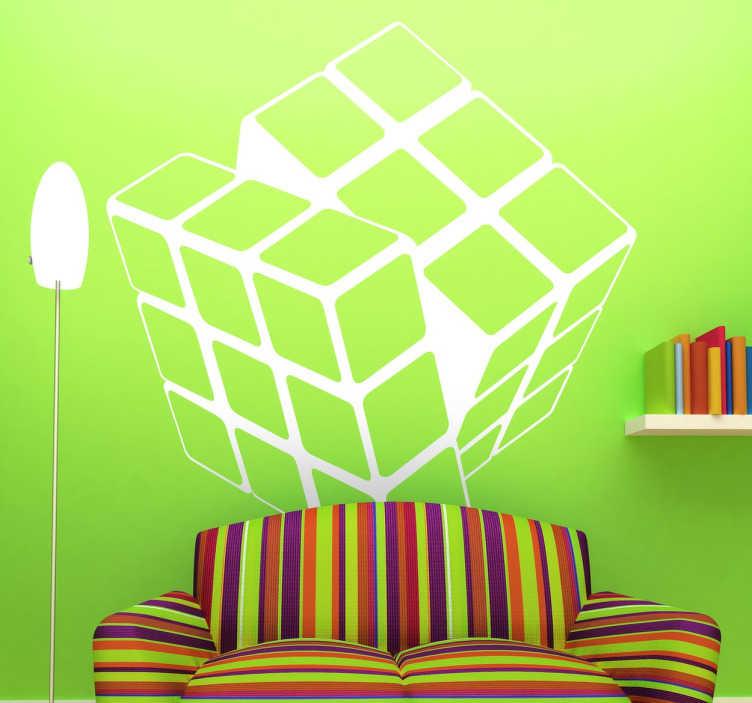 TenStickers. Autocolante personalizado cubo mágico. Autocolante personalizado do cubo mágico. Integra o cubo na decoração da sala ou na decoração do quarto.