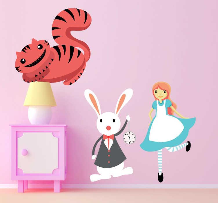 TenVinilo. Vinilo infantil Alicia conejo y gato. Sticker decorativo con los tres personajes principales de este fantástico cuento de Lewis Carroll.
